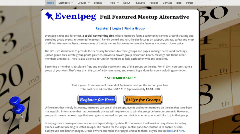 Eventpeg Landing Page