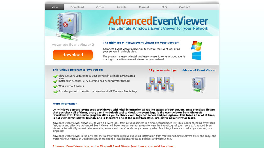 AdvancedEventViewer Landing Page